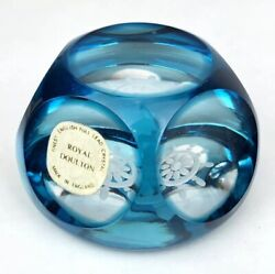 Royal Doulton Crystal Turquoise Clear Ship's Wheel Cut Glass Faceted Paperweight
