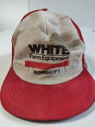Vintage White Farm Equipment Tractor Hat Red-white Mesh Snapback 80's, Pre-owned