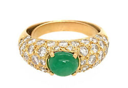 1.50ct Natural Round Diamond 14k Solid Yellow Gold Emerald Cocktail Ring Size 7