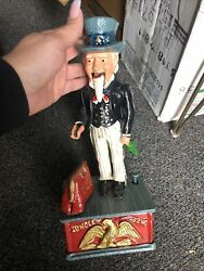 Vintage Uncle Sam Mechanical Coin Bank Cast Iron Taiwan