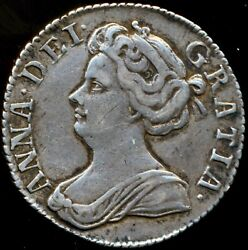 1707 Sixpence Anne S3619 Plumes In Angles Wide Shields Esc 1455 Gvf