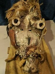 Rare Ceremonial Fetish Mask Andmdash Authentic Carved Wood With Fabric And Bells