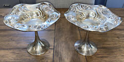 Pair Simpson Hall Miller Sterling Silver Art Nouveau Footed Bowl Compote C4160