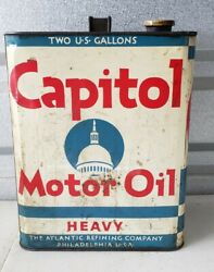 Vintage Capitol Heavy 2 Gallon Metal Advertising Motor Oil Can Great Condition