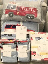 New Pottery Barn Kids Wyatt Fire Truck Full/queen Quilt Shams Sheet Set Pillow