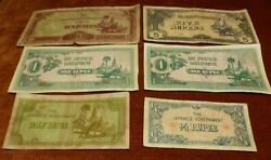 Burma 1940s Japanese Government Ww2 6 X Banknotes 1/4 To 10 Rupees Circulated