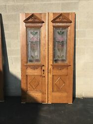 Cm705 Pair Antique Stained Glass Entrance Doors 49 X 83.5 X 17/8