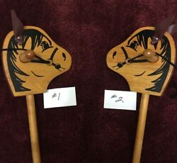Two Vintage Wooden Stick Horses Child's Toy Very Good Used Condition