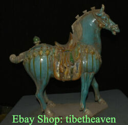 18.4 Old China Tang Sancai Pottery Dynasty Blue War Horse Steed Success Statue