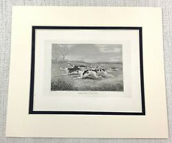 1843 Antique Print Fox Hunting Beagle Hounds Dogs FULL CRY Victorian Engraving