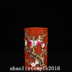 5 china Qing Dynasty Qianlong Red Background Peach Floral Pattern Pen Container