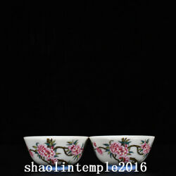 A Pair China Qing Dynasty Yongzheng Enamel Butterfly Floral Pattern Cup