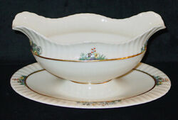 Rare Discontinued Lenox Rutledge Pattern P303 Gravy Boat W/ Attached Underplate