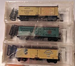 N Scale 36' Wood Sheathed Ice Reefer-meat Packers Of Chicago 3-pack-mtl 58072