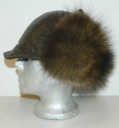 Fisher Sable Fur Hat Kepi Brown Leather Top All Sizes