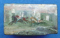 Antique 19th Cen Victorian Papier Mache Snuff Box And039and039 Horse Riding Scene And039and039
