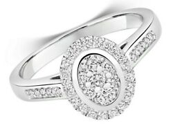 Diamond Halo Cluster Ring White Gold Engagement 0.50ctw Certificate Sizes J - Q