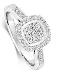 Diamond Square Cluster Ring White Gold Engagement 0.50ctw Certificate Sizes J-q