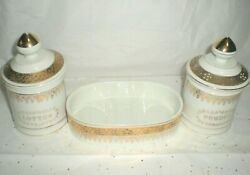 Lefton China Hand Painted Cotton And Powder Holder's W Soap Dish