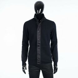 Dior 2300 Technical Blouson With Oblique Inserts In Navy Blue Punto Milano Wool