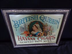 Rare Antique Vintage British Queen Havana Cigars Gumpert Bros Philadelphia Sign