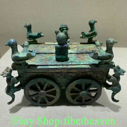 6.8 Rare Old Chinese Bronze Ware Dynasty Palace People Bird Beast War Chariot