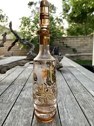Vintage Bohemian Clear Glass Decanter With Gold Stripe Florals Stopper Liquor