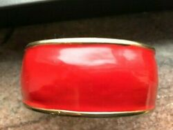 Kate Spade New York Bracelet Cuff Wide Classic Red + Gold Enamel Iconic