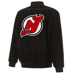 Nhl New Jersey Devils Jh Design Wool Reversible Jacket With Embroidered Logos