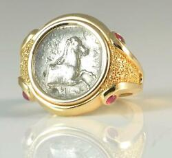 Ancient Greek Silver Horse Coin 480-400 B.c. In Solid 18kt Gold Ring W/rubies