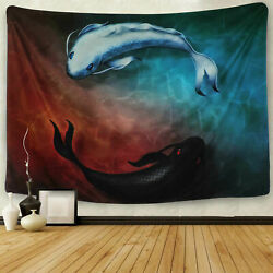 Art Fish Print Hippie Tapestry Room Wall Hanging Psychedlic Throw Tapestry USA
