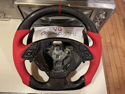 Fits 2014+ Corvette C7 Carbon Fiber Steering Wheel Red Leather Ready To Ship
