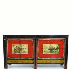 Hand Painted Flower Chinese Sideboard