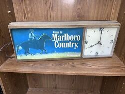 Come To Marlboro Country Light Up Vintage Advertising Clock As-is Tobacco 25x9