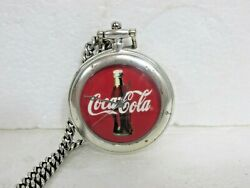 Rare Vintage 1997 Coca Cola Pocket Watch With Chain And Leather Case And Japan Mov't