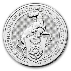 2021 Great Britain 2 Oz Silver Queenand039s Beasts The White Greyhound - Sku217700