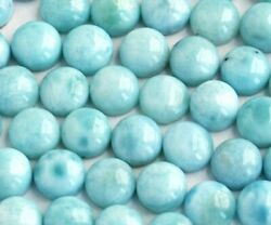 Awesome Natural Larimar 3x3 Mm To 15x15 Mm Round Cabochon Loose Gemstone