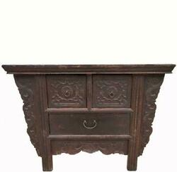 Reddish Brown Antique Chinese 3 Drawers Table