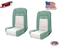 Full Set Deluxe Pony Seat Upholstery Mustang Conv. Front/rear Turquoise And White