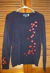 Cute women#x27;s vintage large LeRoy Knitwear sweater navy blue with red hearts $29.99