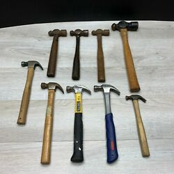 Lot Of 9 Hammers Ball Pein Carpenter Claw Furniture Tack Vintage