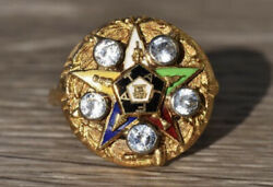 Vintage Past Matron Of Eastern Star Yellow Gold Ring