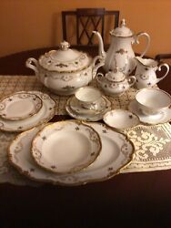 Vintage Fine Porcelain China Dinnerware Set Of 8 Made In Gdr Reichenbach.