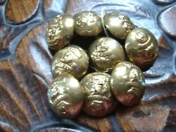 Antique Rnwmp Brass Uniform Buttons Lot Of 9 Royal Nw Mounted Police 3/4 Dia