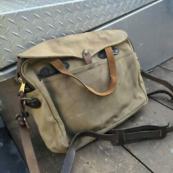 Filson Green Waxed Canvas and Leather Commuter Briefcase Messenger Bag Vintage? $178.95