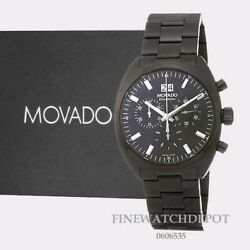 Authentic Movado Swiss Datron Series Stainless Steel Black Menand039s Watch 0606535