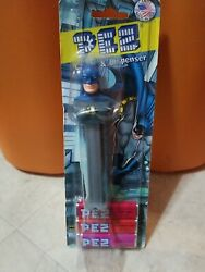 Batman Pez Candy And Dispenser Never Opened Package Blue Mask Gray Body