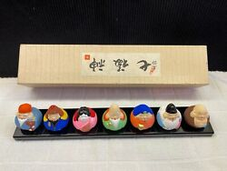 Vintage Asian Chinese Hand Painted Clay 7 Immortals Miniature Bell Figurines
