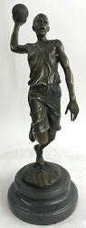 Vintage Bronze Statue Basketball Player Sports Icon Black Marble Post Up
