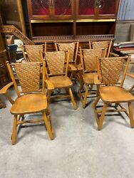 7 Old Hickory Furniture Company Antique Solid Hickory Woven Back Arm Chairs